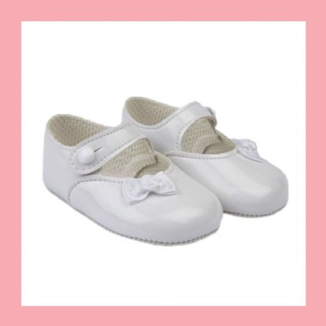 Girls White Patent Bow Baypod Pram Shoes